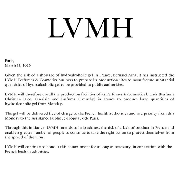 LVMH集团旗下品牌迪奥、纪梵希、娇兰将生产消毒水