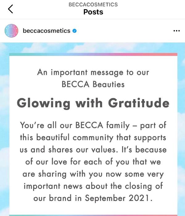 又一个化妆秋天!雅诗兰黛9月关闭品牌Becca